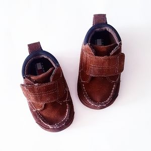 TOMMY HILFIGER Brown Faux-Suede Velcro Baby Shoes